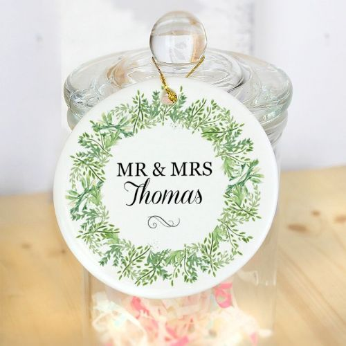 Personalised Botanical Round Ceramic Decoration